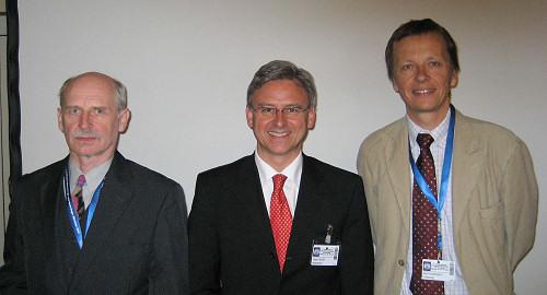 Priv. Doz. Ronald Henss, Prof. Hans Wolff und Prof. Rolf. Hoffmann auf der 21. Fortbildungswoche für praktische Dermatologie